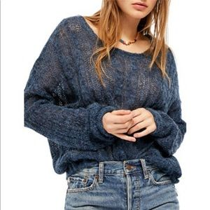 Free People Angel Soft Pullover Sweater Blue S NWT